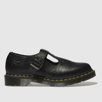 DR MARTENS BLACK POLLEY FLORAL EMBOSS FLAT SHOES