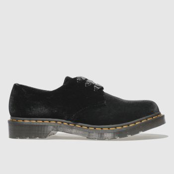 dr martens black 1461 pascal velvet flat shoes