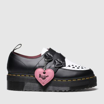 Dr Martens Black & White Lazy Oaf Buckle Creeper Lo Womens Flats