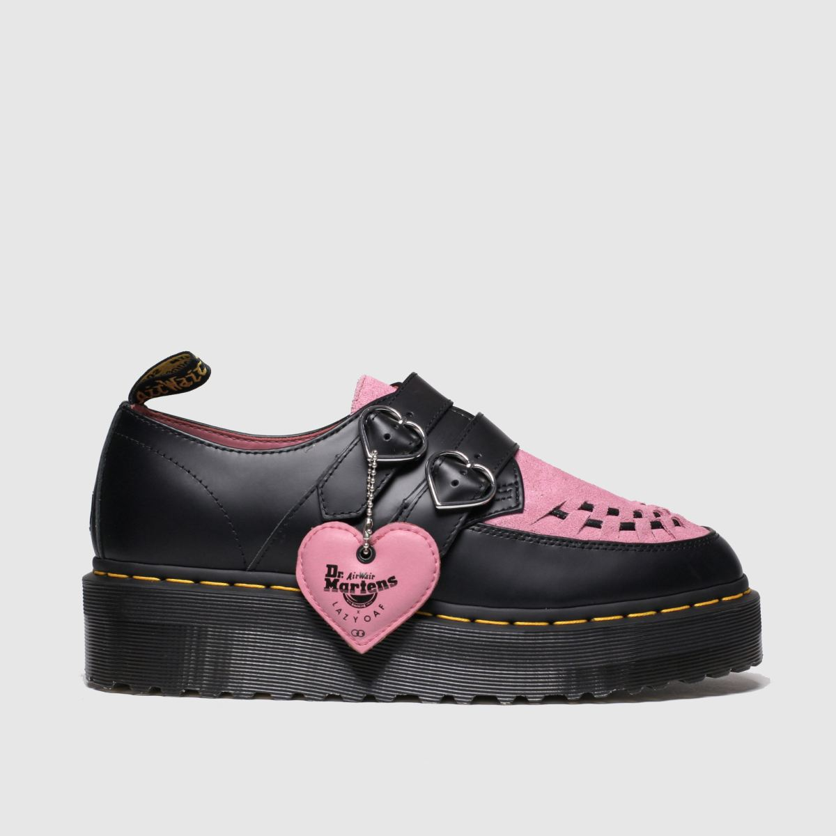 Dr Martens Black & Pink Lazy Oaf Buckle Creeper Lo Flat Shoes