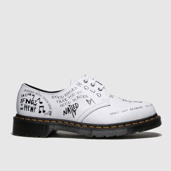 Dr Martens White & Black 1461 Womens Flats