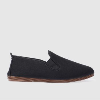 FLOSSY BLACK PLIMSOLL FLAT SHOES
