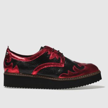 Red Or Dead Black & Red Mille Feuille Womens Flats
