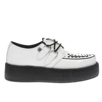 T.U.K WHITE & BLACK VIVA MONDO CREEPER FLAT SHOES