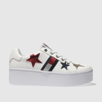 TOMMY HILFIGER WHITE & NAVY TJ ICON SPARKLE SNEAKER TRAINERS