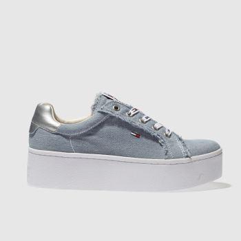 3a24ba051626dd womens pale blue tommy hilfiger tj icon denim sneaker trainers