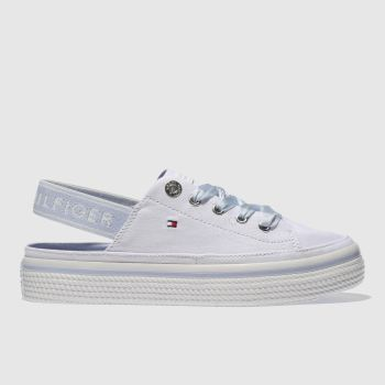 Tommy Hilfiger White & Pl Blue PASTEL SLING BACK Trainers