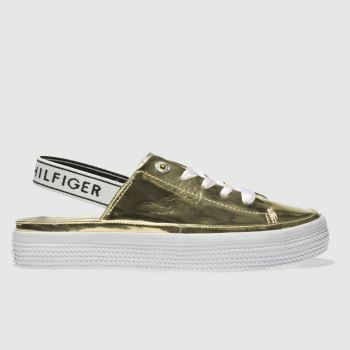Tommy Hilfiger Gold Mirror Metal Sling Back Womens Trainers