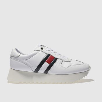 2b44284e57e58b Tommy Hilfiger White High Cleated Sneaker Womens Trainers