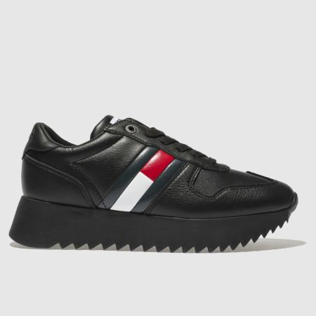 9ad7fe9d6686cf womens black tommy hilfiger tj high cleated sneaker trainers
