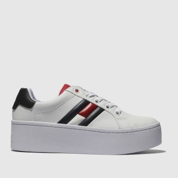 Tommy Hilfiger White & Navy Flatform Flag Sneaker Womens Trainers