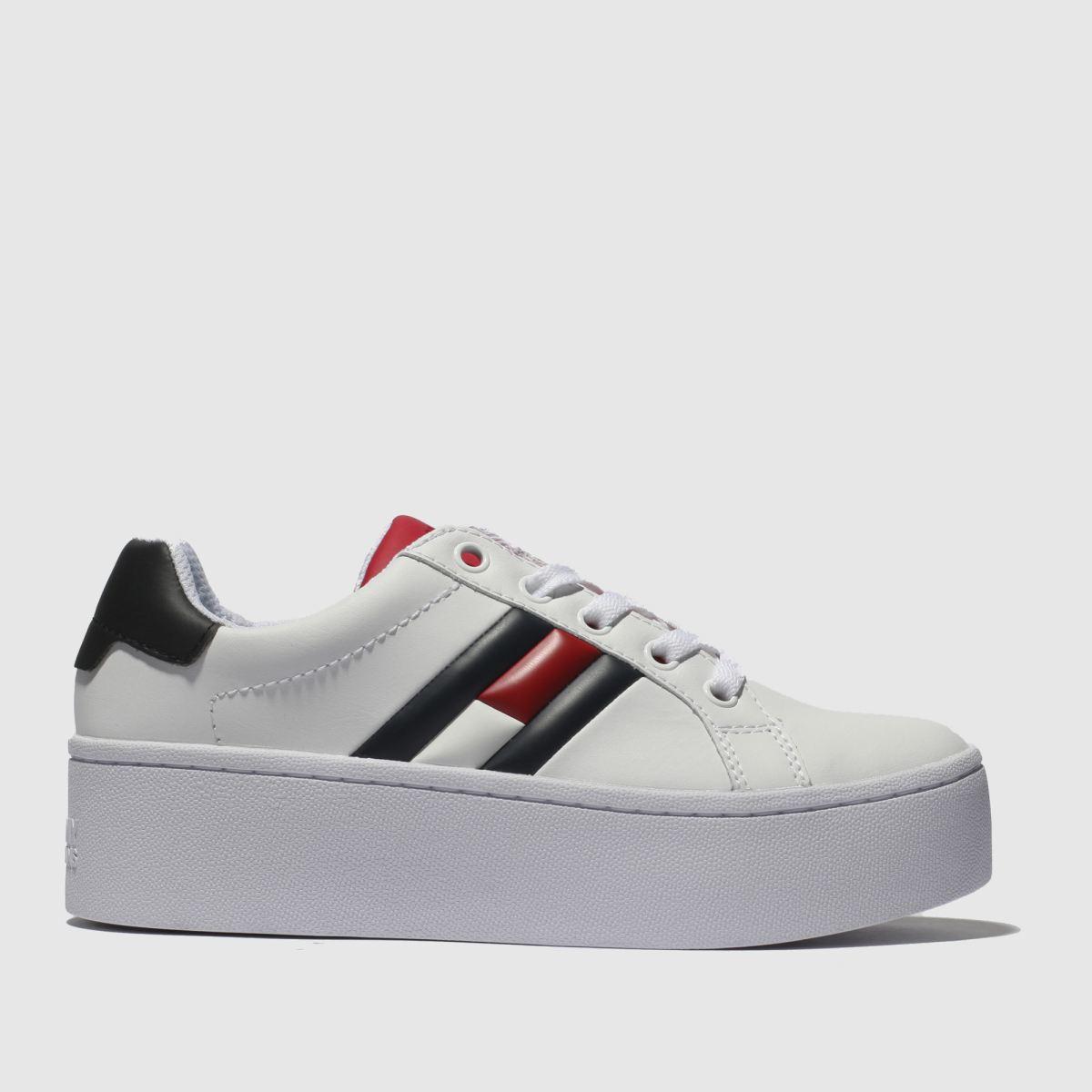 Tommy Hilfiger White & Navy Flatform Flag Sneaker Trainers