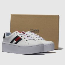 fc755bad womens white & navy tommy hilfiger flatform flag sneaker trainers ...