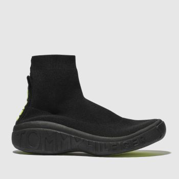 TOMMY HILFIGER BLACK TJ KNIT SOCK SNEAKER TRAINERS