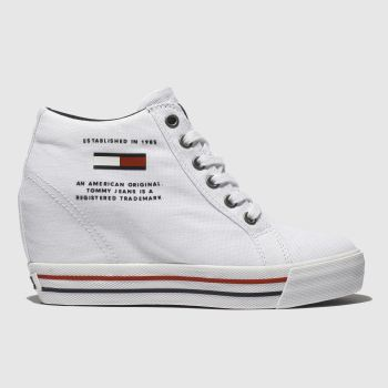 1a18e893212 Tommy Hilfiger White Wedge Casual Sneaker Womens Trainers