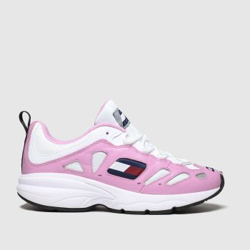 Tommy Hilfiger White & Pink Tj Retro Sneaker Womens Trainers