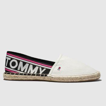 9757a6ee1fc1 Tommy Hilfiger White Tj Pop Webbing Espadrille Womens Flats