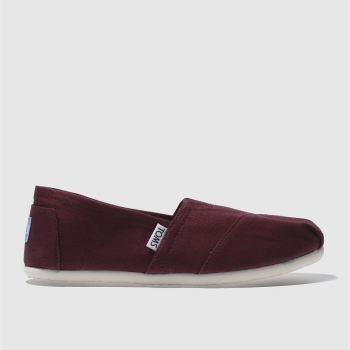 TOMS BURGUNDY CLASSIC SLIP FLAT SHOES