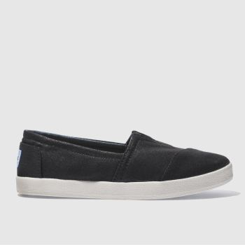 toms black avalon canvas flat shoes