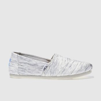TOMS WHITE & GREY SEASONAL CLASSIC JERSEY FLAT SHOES