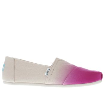 TOMS PINK CLASSIC DIP DYE FLAT SHOES