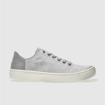 TOMS LIGHT GREY LENOX SLUB CHAMBRAY FLAT SHOES