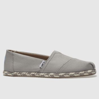 Toms Light Grey Classic Slip Rope Sole Womens Flats