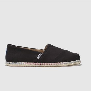 Toms Black Classic Slip Rope Sole Womens Flats