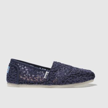 Toms Navy Classic Slip Lace Leaves Womens Flats