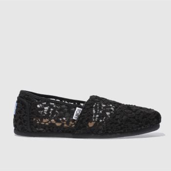 Toms Black Classic Slip Lace Leaves Womens Flats