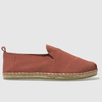 Toms Orange Deconstructed Alpargata Womens Flats