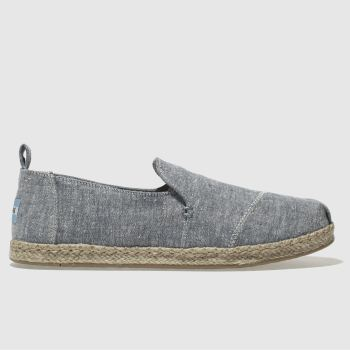 TOMS BLUE DECONSTRUCTED ALPARGATA FLAT SHOES