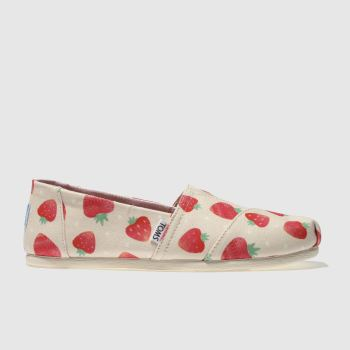 Toms White & Red Alpargata Strawberry Womens Flats
