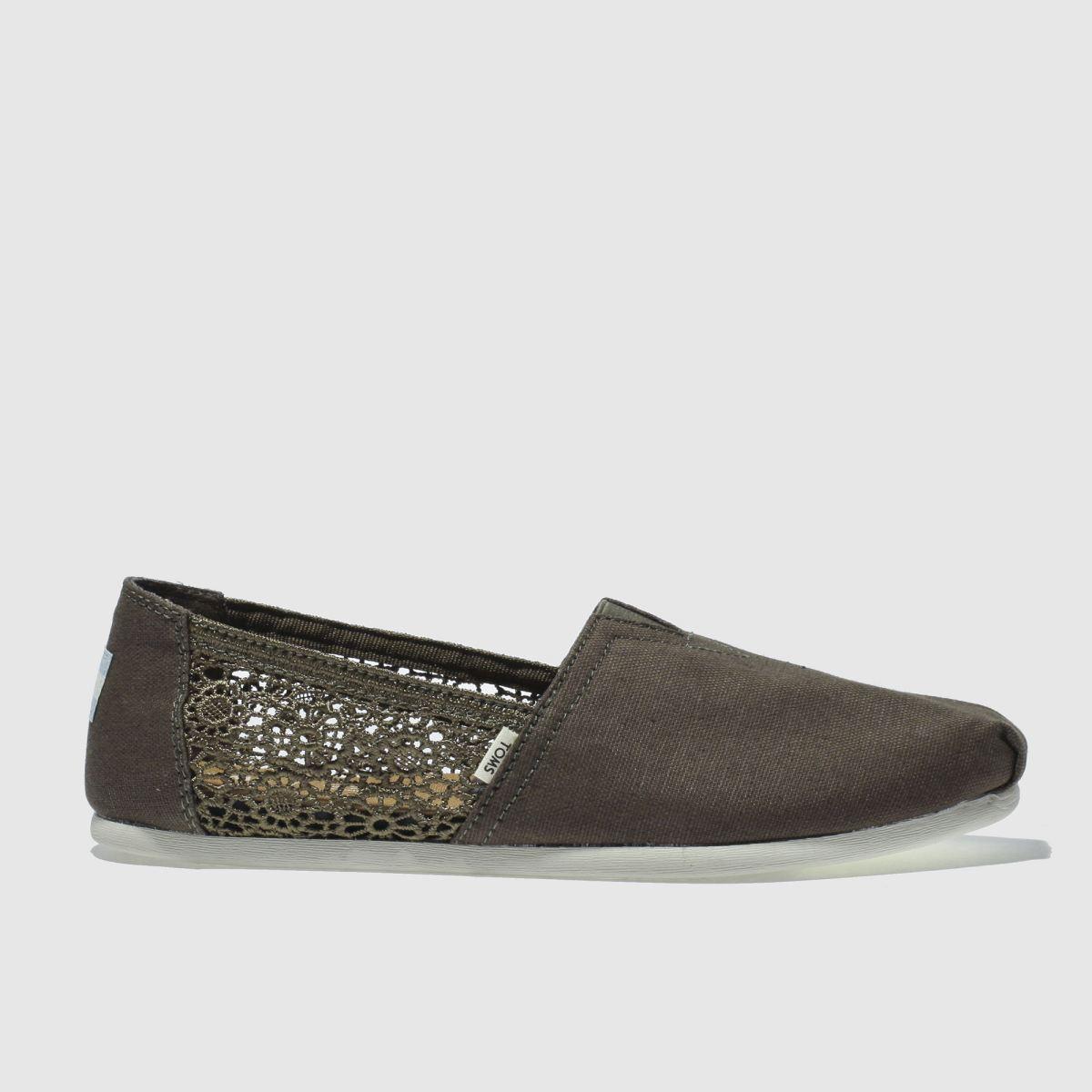 Toms Khaki Classic Hemp Crochet Flat Shoes
