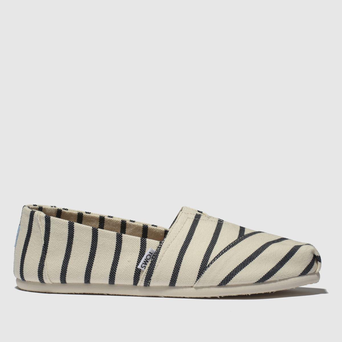Toms White & Navy Alpargata Flat Shoes