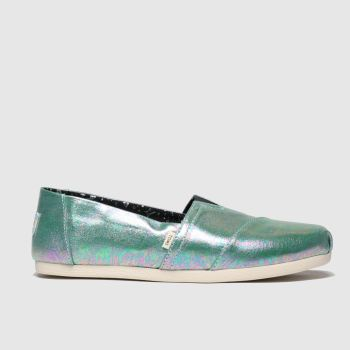 Toms Green Alpargata 3.0 Metallic Womens Flats