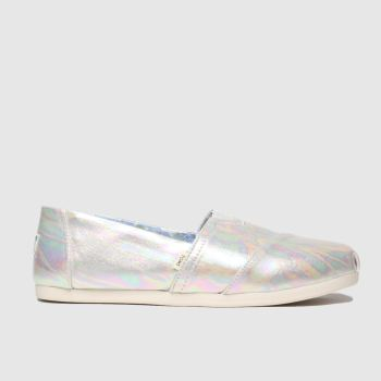 toms silver alpargata 3.0 metallic flat shoes
