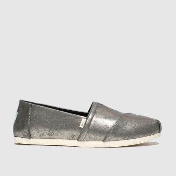 Toms Dark Grey Alpargata Metallic Womens Flats