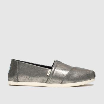 Toms Dark Grey Alpargata Metallic Womens Flats#