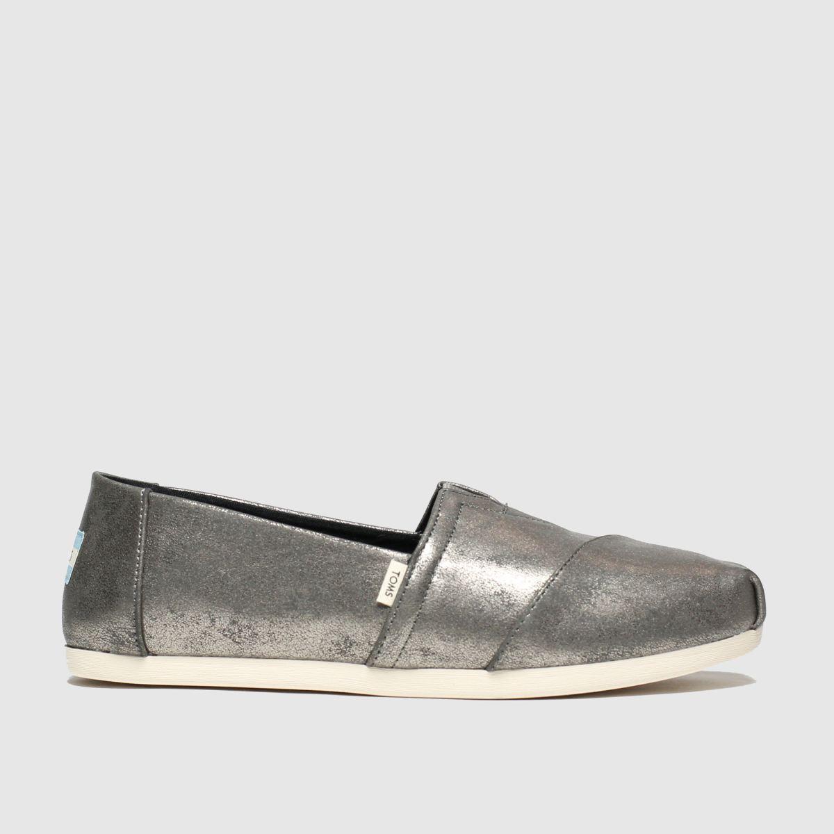 Toms Dark Grey Alpargata Metallic Flat Shoes