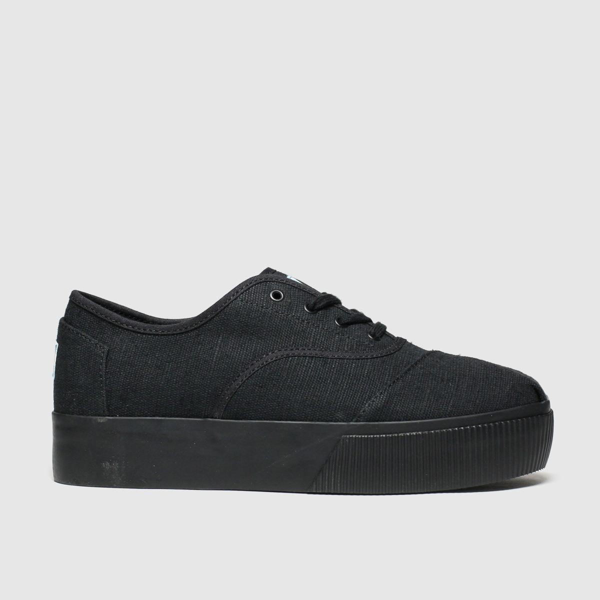 Toms Black Cordones Platform Vegan Flat Shoes