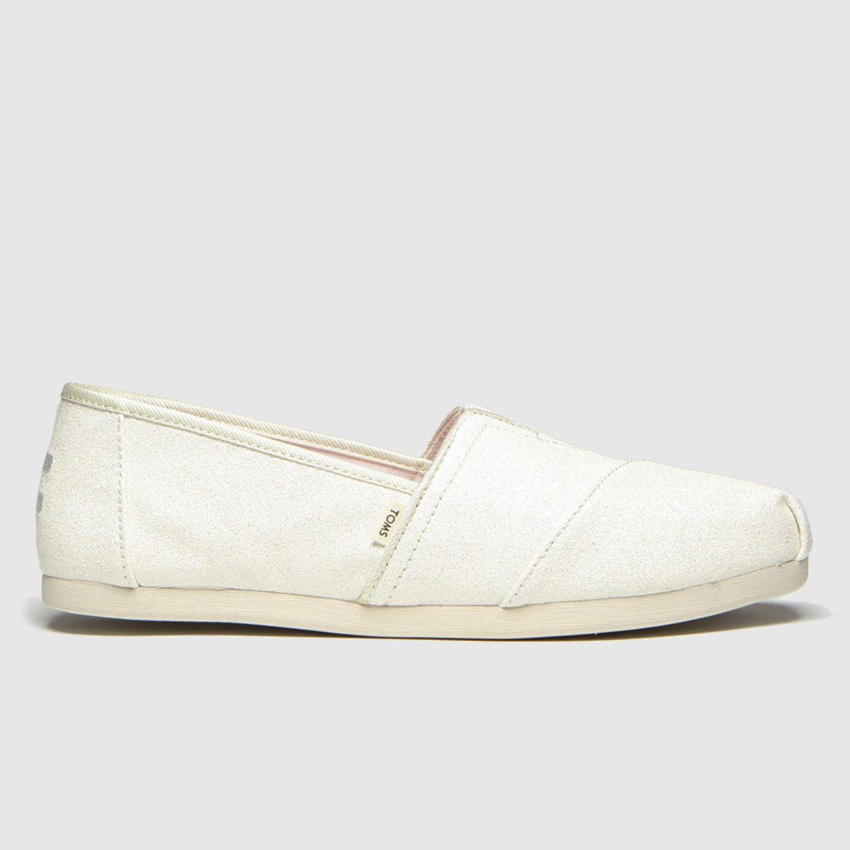 Toms White Alpargata Glitter Flat Shoes