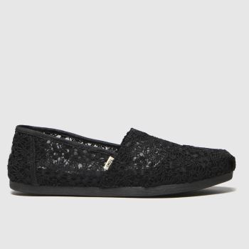 Toms Black Alpargata Floral Lace c2namevalue::Womens Flats