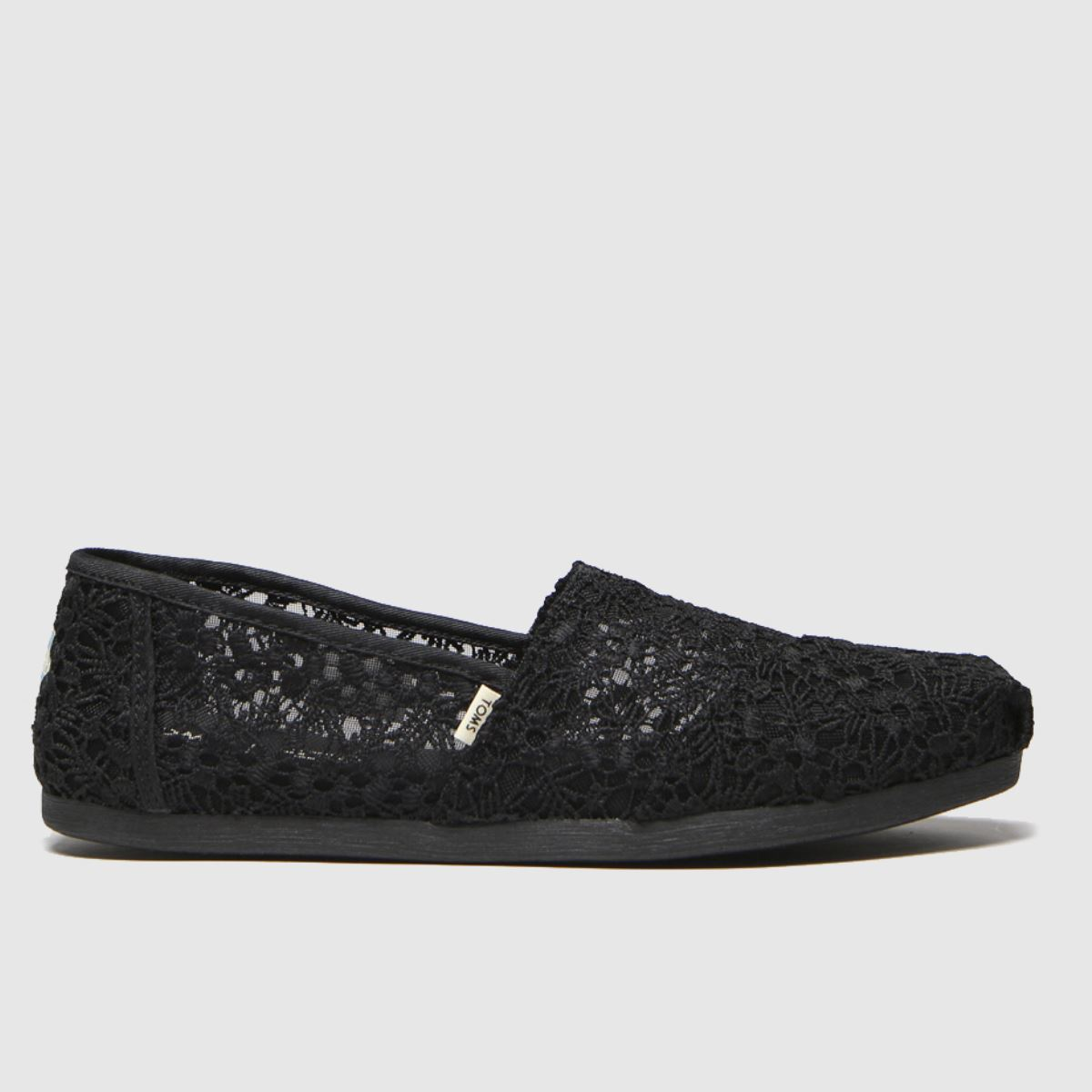 Toms Black Alpargata Floral Lace Flat Shoes