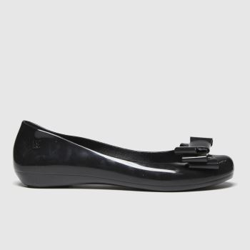 Zaxy Black Pop Glam Bow Vegan Womens Flats