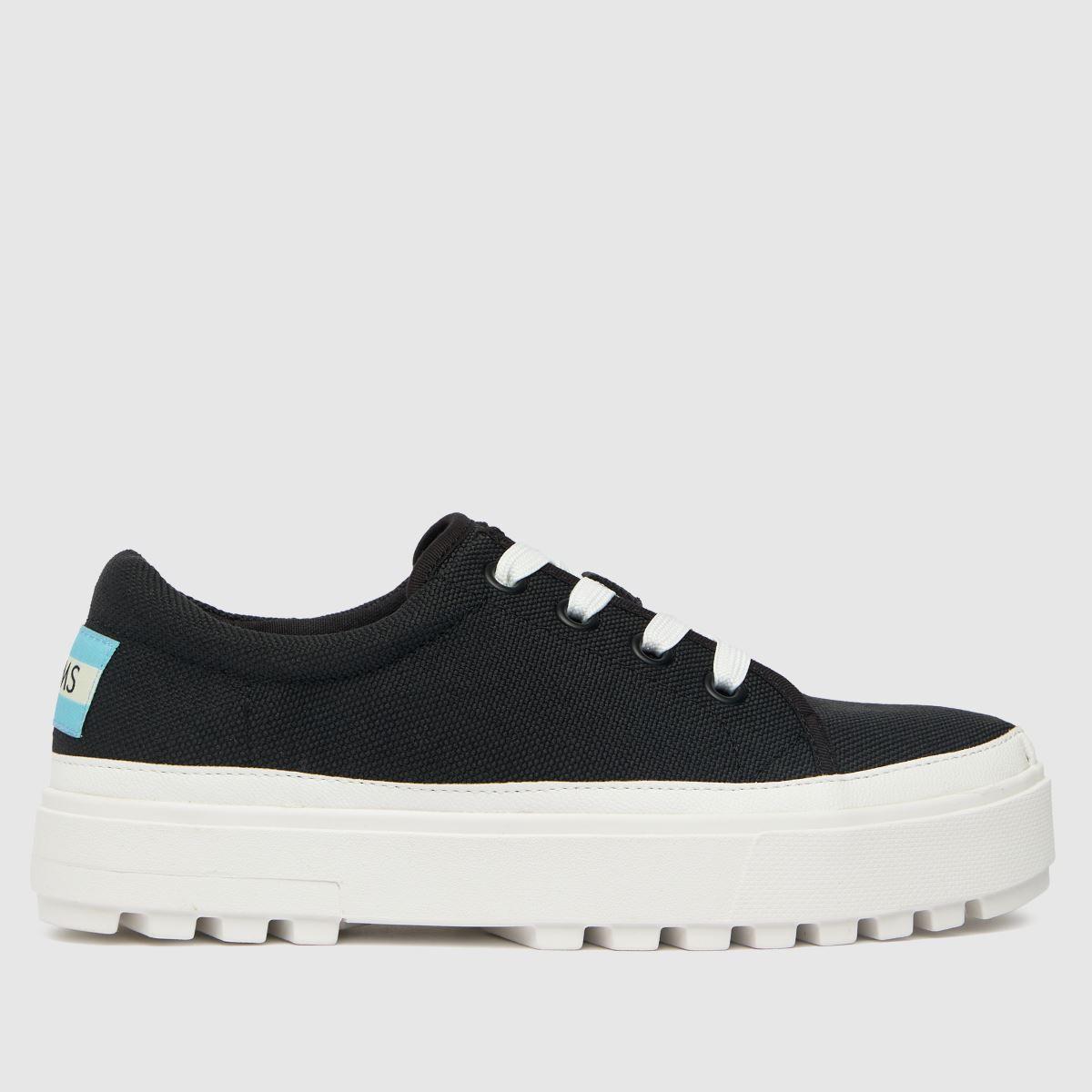 TOMS Black Lace Up Lug Flat Shoes