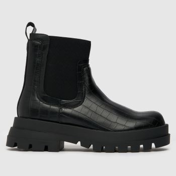 schuh Black Annie Chunky Croc Chelsea Womens Boots
