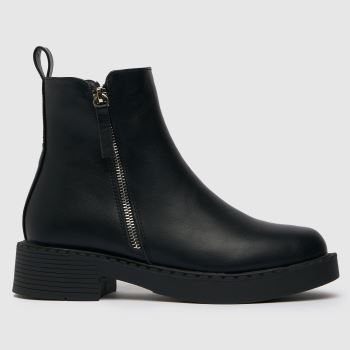 schuh Black Wide Fit Amos Chunky Side Zip Boots