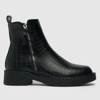 schuh Black Amos Croc Chunky Side Zip Boots