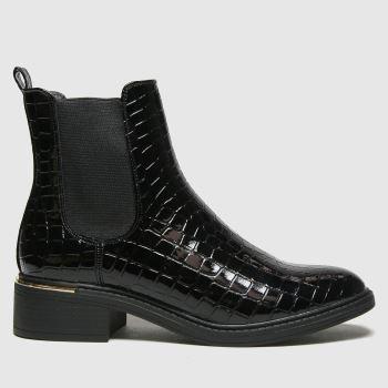 schuh Black Carol Croc Patent Pu Chelsea Womens Boots